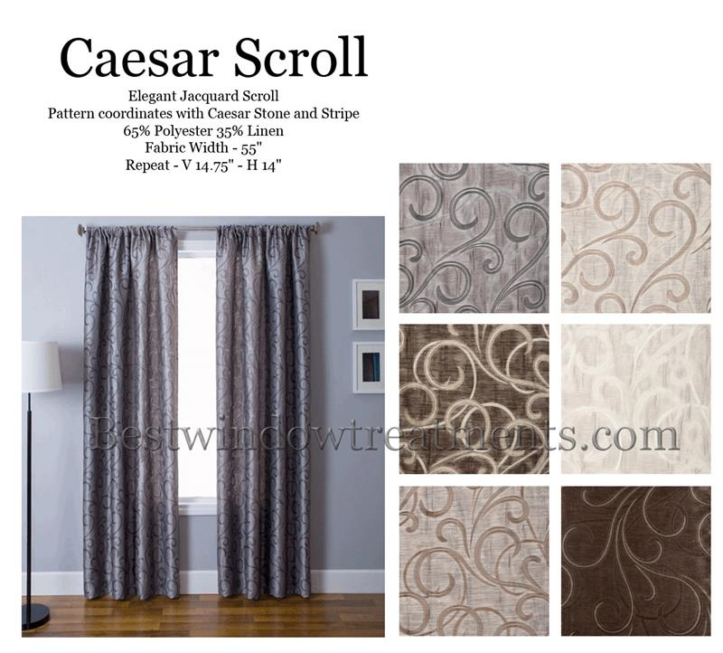 Caesar Jacquard Scroll Curtain Panel Available In 6 Colors