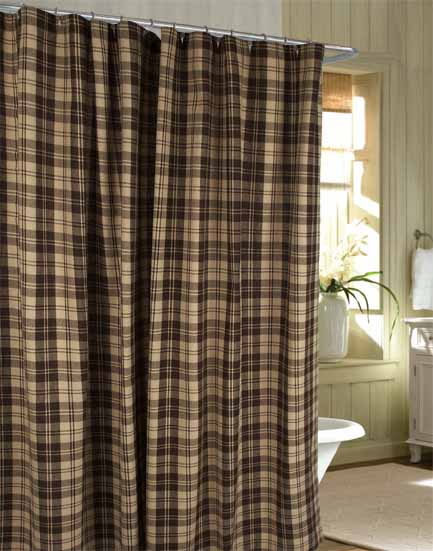 Millville Check Brown Shower Curtain
