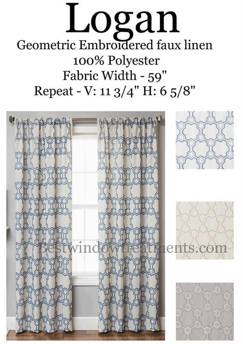 Logan Linen Style Moroccan Geometric Tile Curtains